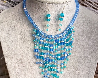 Blue Rhinestone Statement Necklace, Crystal Necklace, Floating Rhinestone Necklace, Blue Rhinestone Statement, Crystal Statement Jewelry