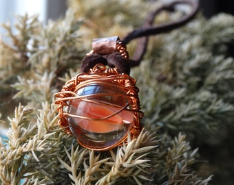 Handmade Copper/Leather Marble Necklace