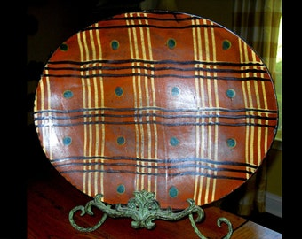 Multi-Color Rustic Country Style Decor Turtlecreek Redware Pottery PA Dot/Line Platter