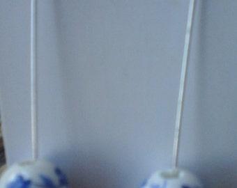 Long blue and white ceramic earrings