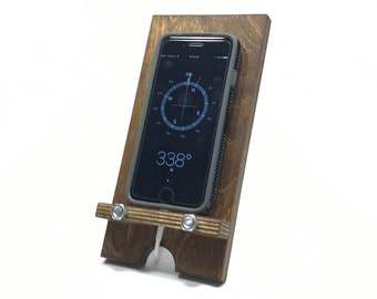 Industrial Style Rustic Wood Phone Docking Station / Phone Charging Dock / Organizer / Phone Stand