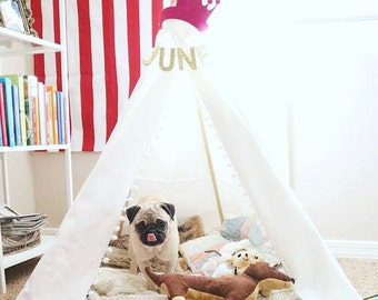 """48"""" Canvas Tepee Play tent with Poles, Handcrafted Teepee, Child Tepee, Pet Teepee, Play Tent, Pet Bed, Dog Teepee, Play Tent"""