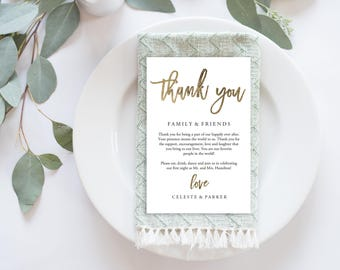 Wedding Thank You Card, Modern Calligraphy, Gold Thank You Printable, Gold Wedding Calligraphy, Wedding Table Thank You | No. EDN 5490 Gold