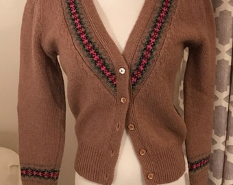 Vintage Hippie Sweater Cardigan | Vintage 70s/90s Style | 100% Wool Sweater | Holiday Sweater Retro Hipster Sweater | Tan Cardigan FREE SHIP