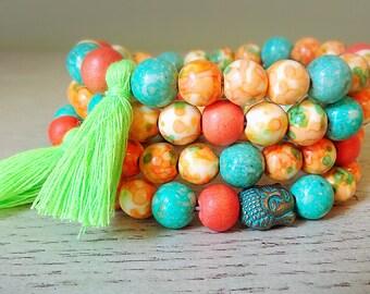 Gemstone Stretch Bracelets, Orange Beaded Bracelet, Yogi jewelry, Summer jewelry, White Jade Bracelets, Orange and green, 7 inch wrist