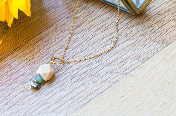 Essential Oil Diffuser Necklace with choice of Essential Oil Blend // Wood, Druzy Pyrite & Gemstone Bead Pendant on Gold Chain