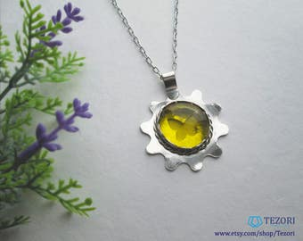 yellow pendant necklace glass pendant butterfly