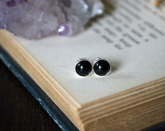 Black Onyx Earrings 925 - Minimalist Earrings - Sterling Silver - Self Control, Intuition, Decisions, Protection