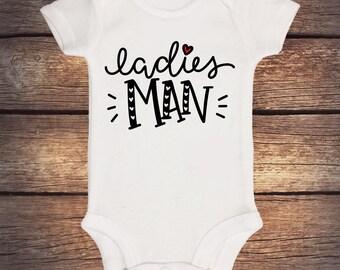 Ladies Man Onesie - Valentines Day Outfit - 1st Valentines - Valentine Onesie - Valentine shirt - Baby Boy Onesie - My First Valentine