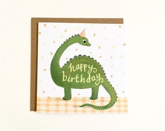 Dinosaur Birthday Card - Diplodocus Card, Dino lover, Best friend, Cute greetings card