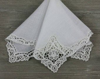 Vintage Lace Hankerchief, White Crochet Lace, Wedding Hankie