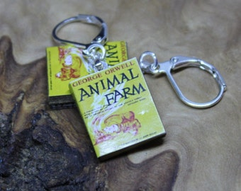 Miniature Book Earrings *With real pages!* George Orwell, Animal Farm. Hand made, Unique, Dolls House accessories.