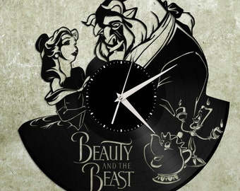 Beauty and the Beast Clock, Disney Clock, Beauty and the Beast Art, Disney Wall Decal, Unique Disney Clock Gift, Record Wall Clock