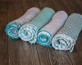 Teal Crochet Muslin Gauze Swaddle Blankets