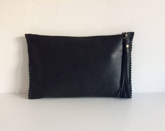 Black Leather Clutch, Black Leather Zip Clutch Bag