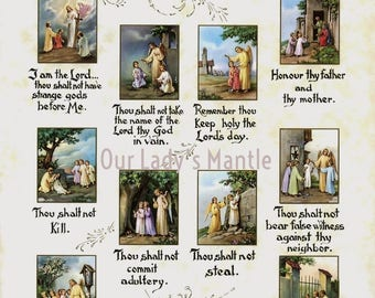 THE TEN COMMANDMENTS Print 8x10 Catholic Picture Print from Italy