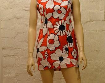 Vintage 70s Orange Dress, Flower Dress, Flower Flare Dress, Orange Flower Dress, Floral Dress, Orange Floral Dress Made in France