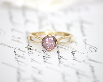 1.25ct Pink Moissanite in 9K/9ct Yellow Gold Filigree Solitaire Ring
