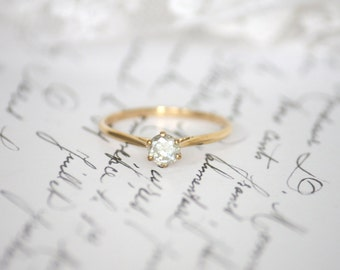 Petite 4.65mm Moissanite in 9K Yellow Gold Solitaire Ring
