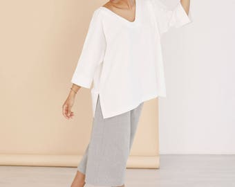 White organic cotton tunic - Eco friendly women's clothing - Plus size tunic - Beach cover up