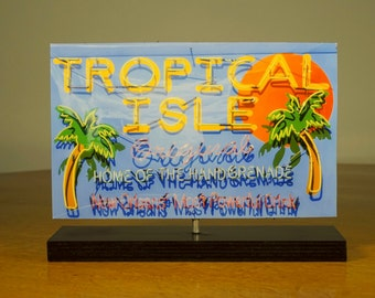 Tropical isle neon sign Photo Cutout / New Orleans neon sign / bar art / New orleans photo / neon art / neon sign / Tropical Decor  art