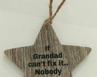 Gift for grandad, rustic hanging star, gift for him, keepsake gift, birthday gift, father's day gift, rustic home decor, wood effect decor