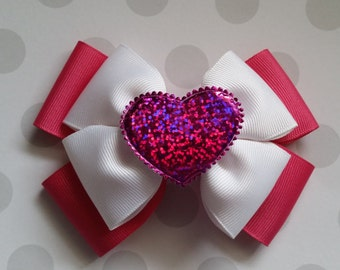 Pink Valentines Day Hair Bow