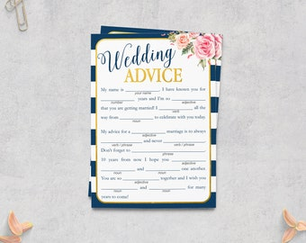 Wedding Mad Libs, Navy Blue Gold Wedding, Advice Cards, Bridal Shower Games, Bride Groom Advice, Floral, Blush Pink, NG Instant Download