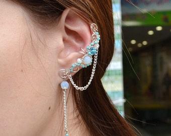 Fake piercing, Moonstone ear cuff, ear jacket, cartilage ear cuff, no piercing ear cuff, fake ear cuff, ear wrap, blue earring,earring cuff