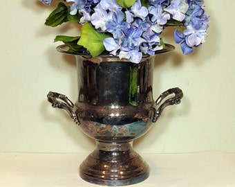 Vintage SILVER TROPHY CUP Silver Champagne Bucket Shabby Chic Vintage Wedding Decor Loving Cup Silver Plated Urn Vase Retro Barware
