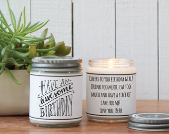 Have An Awesome Birthday Soy Candle | Birthday Gift | Birthday Card | Send a Birthday Gift | Birthday Candle | Birthday Cake Scented Candle