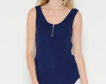 Zipper Down Ribbed Tank