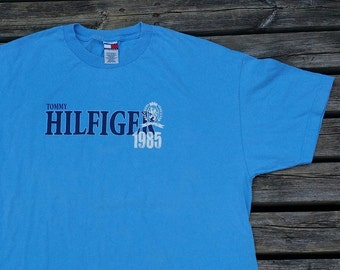 Deadstock 90's Vintage Tommy Hilfiger baby blue t-shirt Made in USA