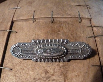 antique solid sterling silver victorian brooch / sweetheart brooch H'M 1893 Arthur Johnson Smith / vintage silver brooch