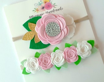 Baby headband set, Baby Headband, Baby Girl Headband, Girls Headband, Baby Felt Flower Headband, Felt flower  Pink White headband
