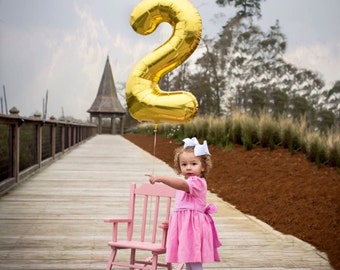 "34"" Number 2 Gold Rose Gold Silver Mylar Balloon - Number 2 Balloon - Two Balloon - Second Birthday Decor - Second Birthday Photo Prop - 2"