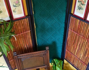 Vintage Emerald Green Long Woven Table Runner / Wall Tapestry with Fringe