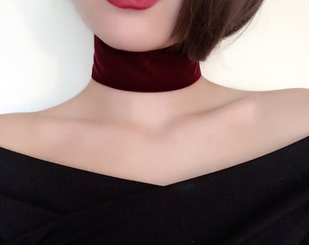 Bordeaux Wide Velvet Ribbon Choker