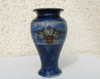 Vintage Royal Doulton Vase with Arts and Craft Style Roses