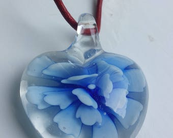 Murano glass heart flower pendant necklace