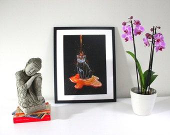 Painted Tiger - tiger print, art print, acrylic painting, wall art, animal print
