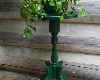 Lamp / Plant Stand- Small Wooden Side Table- Refurbished Wood Furniture- Dark Green/ Hunter Green- Living Room Decorations & Decor