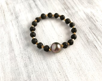 Tahitian pearl and lava bead diffuser stretch bracelet for essential oil