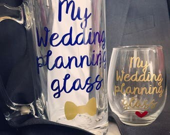 Engagement gift,engagement gift for couple,wedding planning glass,engagement gift for best friend, engagement gift for her, wedding planning