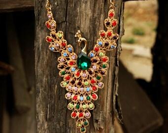 wife gift bird jewelry|for|women bird necklace peacock jewelry vintage Peacock necklace gold jewelry Rhinestone necklace rainbow jewelry