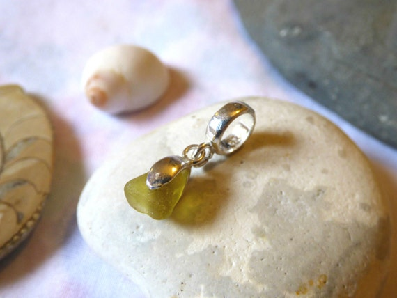 Yellow Sea Glass, Sea Glass Charm, Amber Sea Glass, Beach Glass Charm, Yellow Beach Glass, Amber Beach Glass, for Charm Bracelet - CZ16012