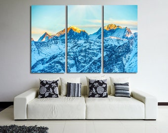Large Wall Alps Mountain  Canvas Color Sunrise Multipanel Canvas Snow Canvas Art Large Alps 1-3-4-5 Panel