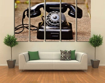 Large Wall Art Old Telephone Canvas Print / Large Retro Telephone Wall Art / Living Room Panel Art / Canvas Print / Vintage