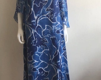 1960s Dress / Maxi / Tropical / Abstract / Statement Sleeves / L