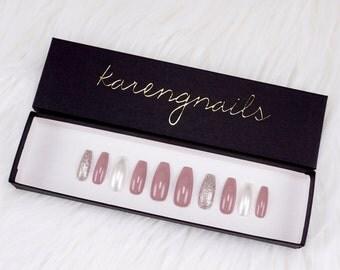 Glitter Mauve Nails | Press On Nails | Glue On Nails | False Nails | Any Shape | Handpainted